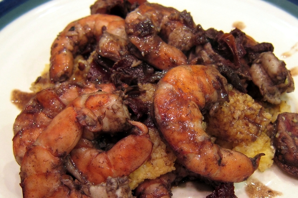 Shrimp with Adobo Sauce and Polenta