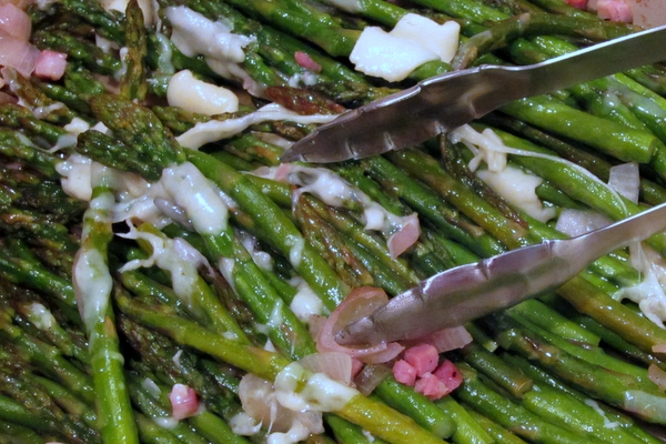 Roasted Asparagus with Pancetta, Shallots and Asiago