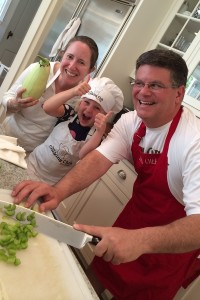 Nicole, Atlee T and Ed making Caponata