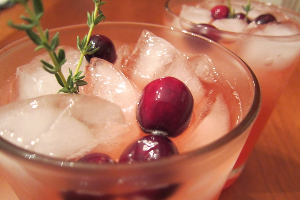 Cranberry-Thyme Gin and Tonic
