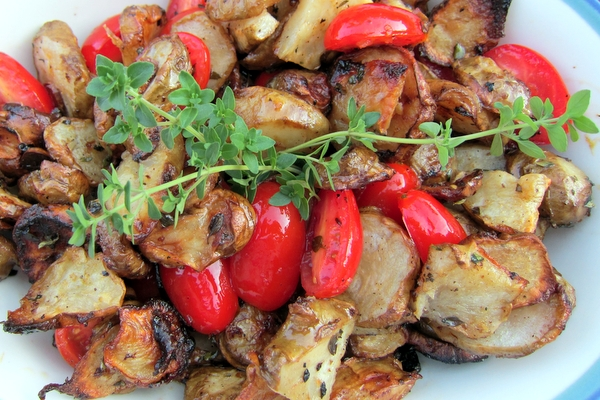 Roasted Sunchokes with Grape Tomatoes