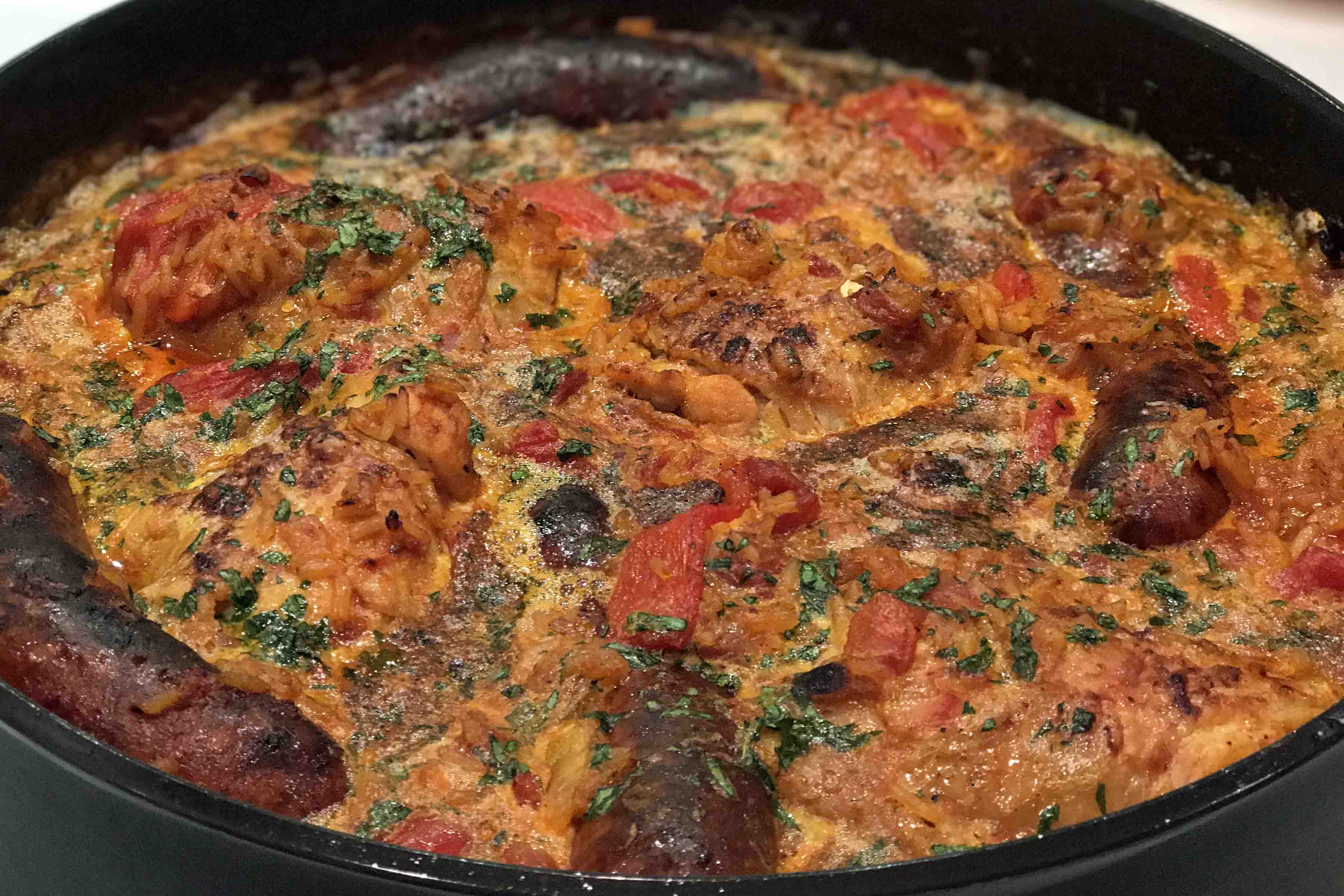 Stovetop Paella with Chorizo and Chicken